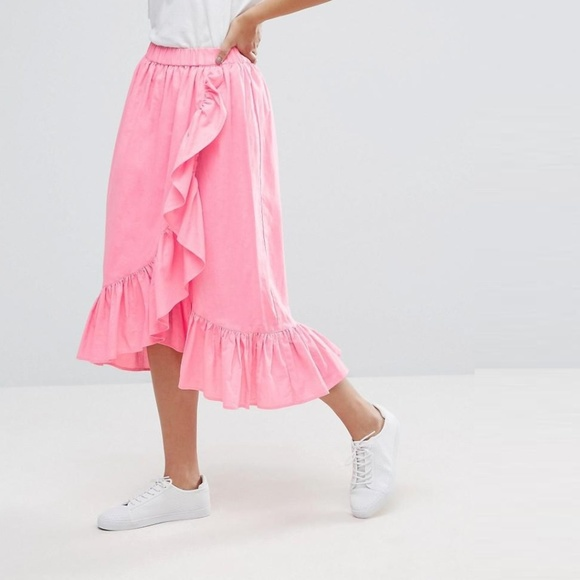 ASOS Bright Pink Faux Wrap Midi Skirt